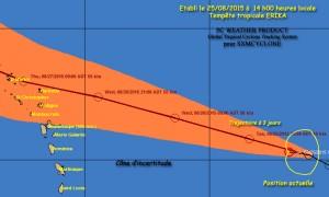 """La trajectoire possible de la tempête tropicale Ericka, qui se renforce. On dit bien """"possible"""" car la route que peut emprunter le phénomène météo peut être très différente de la théorie. (SXMCyclone)"""