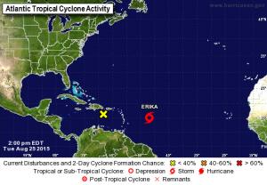 La position actuelle de la tempête tropicale Ericka, sur le site du NHC de Miami. Elle file  sur les Antilles.
